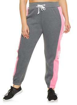 Plus Size Love Graphic Sweatpants - 1951038340707