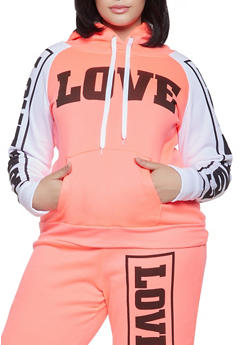 Plus Size Love Graphic Pullover Sweatshirt - 1951038340721