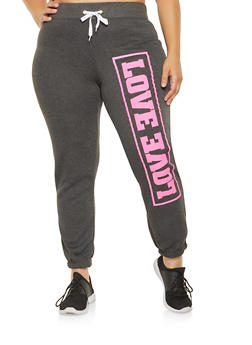 Plus Size Love Graphic Sweatpants - 1951038340722