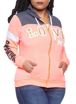 Plus Size Graphic Color Block Sweatshirt - 1951038340730