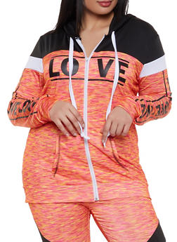 Plus Size Color Block Love Activewear Top - 1951038340736