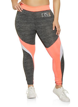 Plus Size Color Block Love Active Leggings - 1951038340737