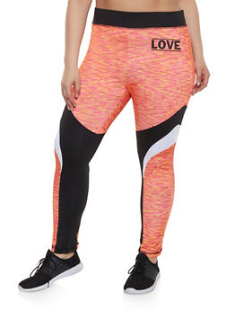 d3393b738 Plus Size Color Block Love Active Leggings - 1951038340737