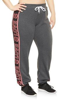 Plus Size Love Graphic Sweatpants - 1951038340739