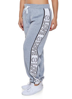 Plus Size Love Graphic Sweatpants - 1951038340739