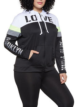 Plus Size Love Foil Color Block Activewear Top - 1951038340761
