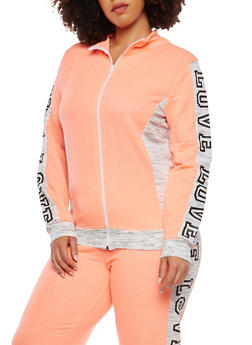 Plus Size Love Graphic Zip Up Sweatshirt - 1951038340858