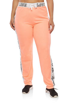 Plus Size Love Graphic Sweatpants - 1951038340859