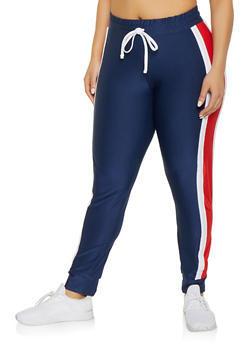 Plus Size Side Stripe Active Joggers - 1951038341716