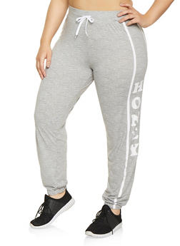 Plus Size Honey Graphic Sweatpants - 1951038341722