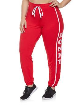 Plus Size Honey Graphic Sweatpants - 1951038341722