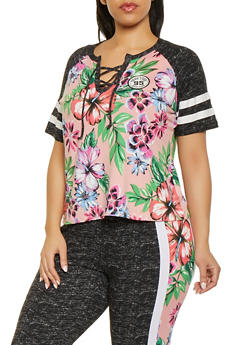 Plus Size Floral Lace Up Baseball Tee - 1951038341725