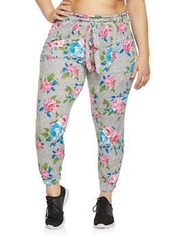 888ec43e454 Plus Size Floral Tie Waist Joggers - 1951038341728