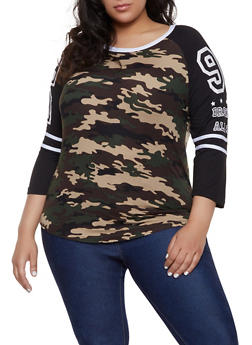 Plus Size BK Baseball Tee - 1951038341735