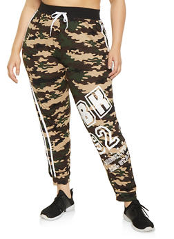 Plus Size BK Printed Joggers - 1951038341736