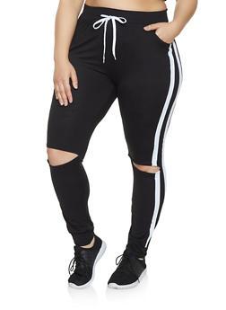 Plus Size Split Knee Joggers - 1951038341738