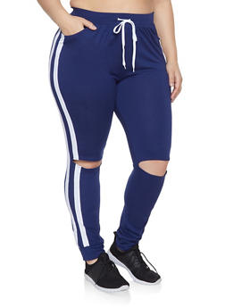 Plus Size Split Knee Joggers - 1951038341738