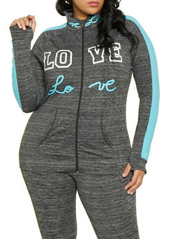 Plus Size Love Color Block Active Zip Top - 1951038341739