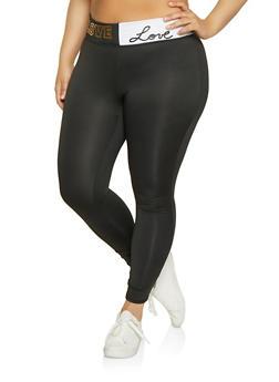 Plus Size Love Color Block Active Leggings - 1951038341740