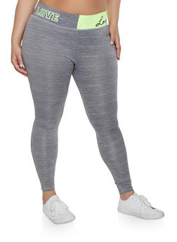 Plus Size Love Color Block Active Leggings - Grey - Size 3X - 1951038341740