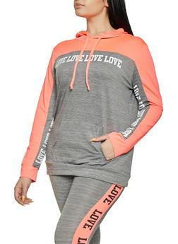 Plus Size Love Color Block Activewear Top - 1951038341743