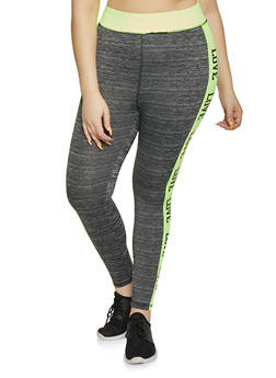 Plus Size Love Color Block Activewear Leggings - 1951038341744