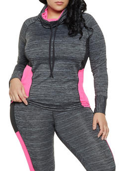 Plus Size Color Block Activewear Top - 1951038341747