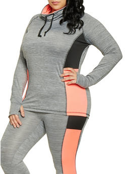 Plus Size Color Block Activewear Top - 1951038341747