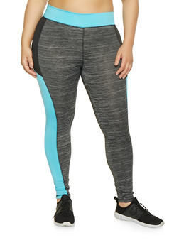 Plus Size Color Block Activewear Leggings - 1951038341748