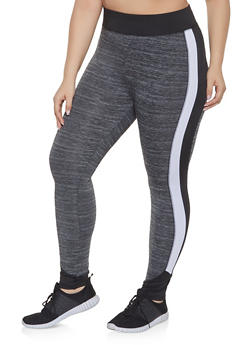 Plus Size Color Block Activewear Leggings | 1951038341750 - Grey - Size 4X - 1951038341750