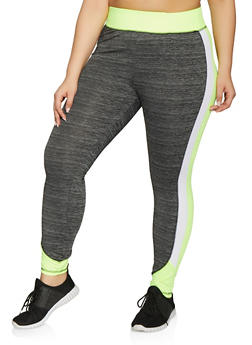 Plus Size Color Block Activewear Leggings - 1951038341750