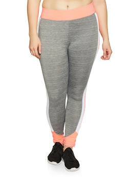 Plus Size Color Block Activewear Leggings | 1951038341750 - 1951038341750