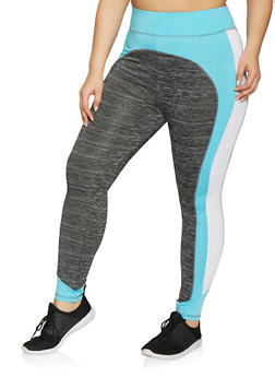 Plus Size Color Block Activewear Leggings - 1951038341752