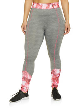 Plus Size Printed Color Block Active Leggings - 1951038341754
