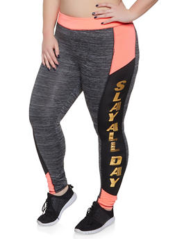 Plus Size Slay All Day Activewear Leggings - 1951038341758