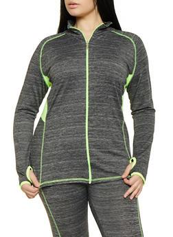 Plus Size Zip Front Activewear Sweatshirt - 1951038341759