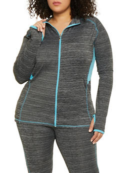 Plus Size Zip Front Activewear Sweatshirt - 1951038341759