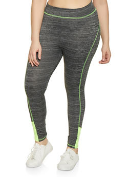 Plus Size Color Blocked Activewear Leggings - 1951038341760