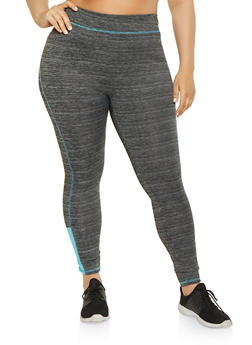 Plus Size Color Blocked Activewear Leggings - 1951038341760
