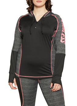 Plus Size Fearless Zip Neck Activewear Top - Multi - Size 2X - 1951038341761