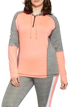 Plus Size Fearless Zip Neck Activewear Top - 1951038341761