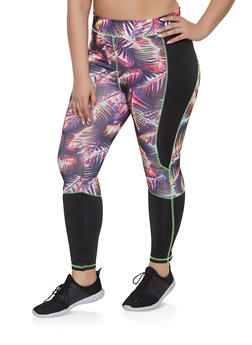 Plus Size Color Block Activewear Leggings - 1951038341762