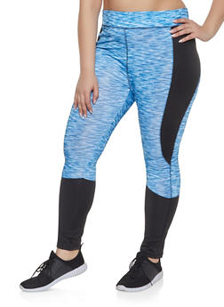 Plus Size Color Block Activewear Leggings | 1951038341762 - 1951038341762