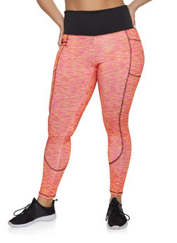 Plus Size Side Pocket Active Leggings - Orange - Size 2X - 1951038341764