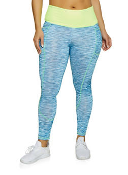 Plus Size Side Pocket Active Leggings - 1951038341764