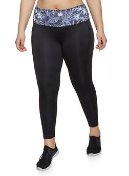 Plus Size Contrast Waist Active Leggings - 1951038341766