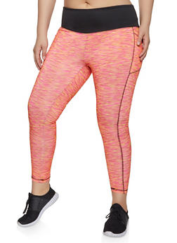 Plus Size Contrast Waist Active Leggings - 1951038341766