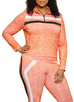 Plus Size Printed Half Zip Active Top - 1951038341767