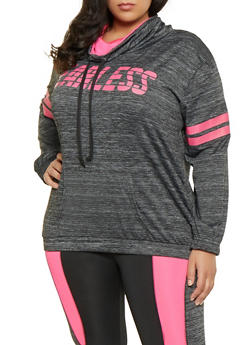 Plus Size Fearless Cowl Neck Activewear Top - 1951038341769
