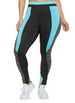 Plus Size Marled Color Block Active Leggings - 1951038341770
